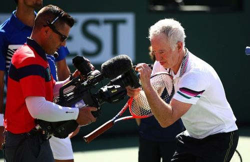 McEnroe signing autographs at the BNP Paribas Open 2018