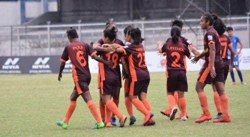 Gokulam Kerala players celebrate a goal against Hans Women FC in the IWL