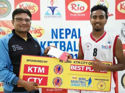 Jasang Sunwar (R) of Nepal Police Club was declared Man of the Match.