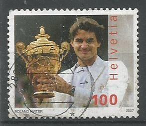 A Stamp of Switzerland on Roger Federer.