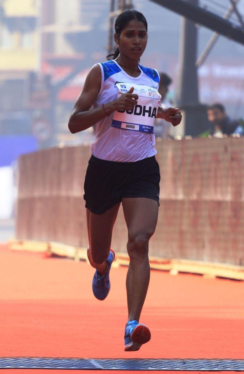 Indian Olympic Athlete Sudha Singh at the Tata Mumbai Marathon 2019