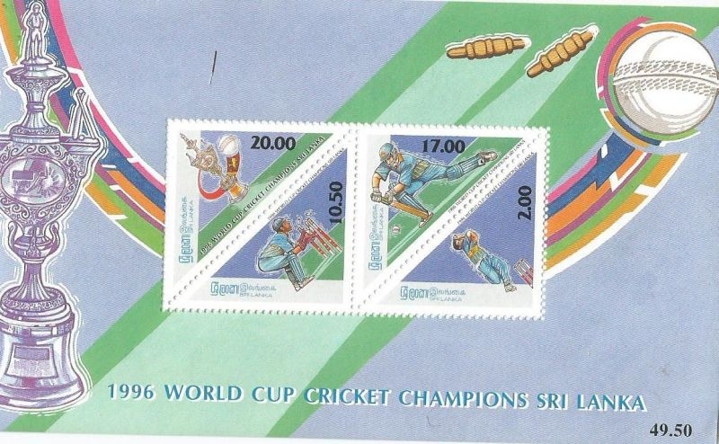 A Miniature sheet with traiangular stamps issued by Sri Lanka to commemorate Sri Lankan victory in 1996 world cup.