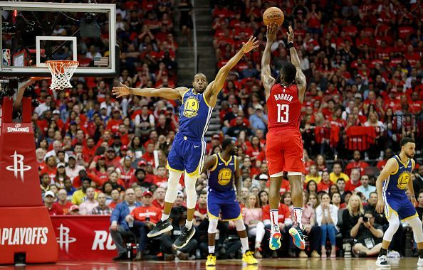 James Harden hit the dagger three over Andre Iguodala to give the Rockets the win