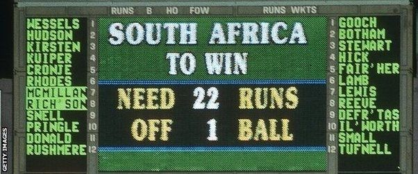 The infamous scoreboard from the 1992 World Cup semi-final.