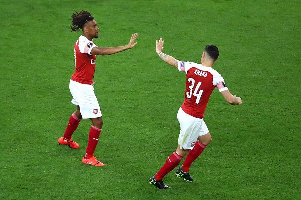Iwobi with a muted celebration after his sweetly-struck volley reduced arrears on the night