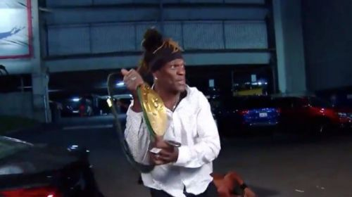 R-Truth won the 24/7 title on RAW last night and ran away in his car!