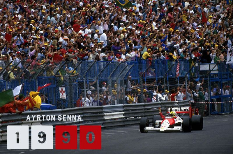 Senna won from pole again for the second straight year