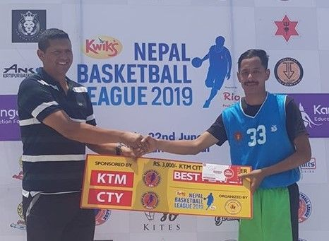 Rabin Khatri (R) of Nepal Army Club was declared man of the match for the second time in the League