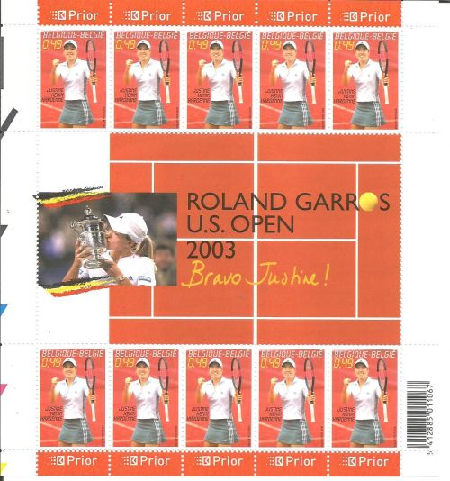A sheet issued by Belgium in 2003 to mark Henin's French Open Victory.