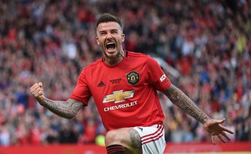 David Beckham showcased his trademark guile to the Old Trafford crowd.