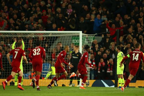 Liverpool players celebrating the 4th goal against Barcelona
