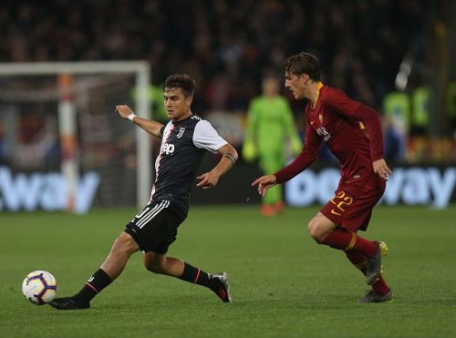 Dybala in action during Juventus' recent defeat by Roma in Serie A