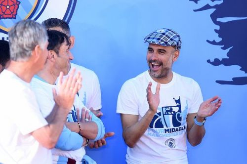 Guardiola during the Manchester City Celebration Parade.