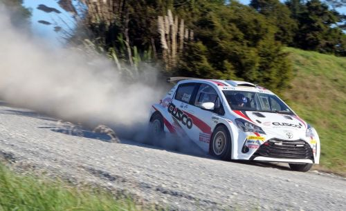 Young and Read testing the Cusco TRD Yaris at Whangare