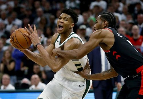 Giannis Antetokounmpo had a monster double-double against the Raptors