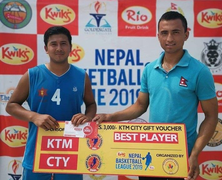 Ayush Singh (L) has been declared man of the match for the third time in the Nepal Basketball League 2019