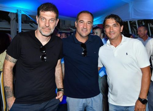 Igor Stimac (left) with former Croatian national team coach Slaven Bilic and current Croatia manager Zlatko Dalic