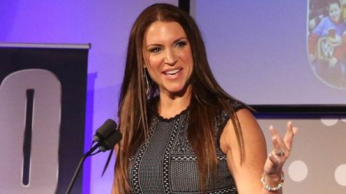 Stephanie McMahon delivering a speech