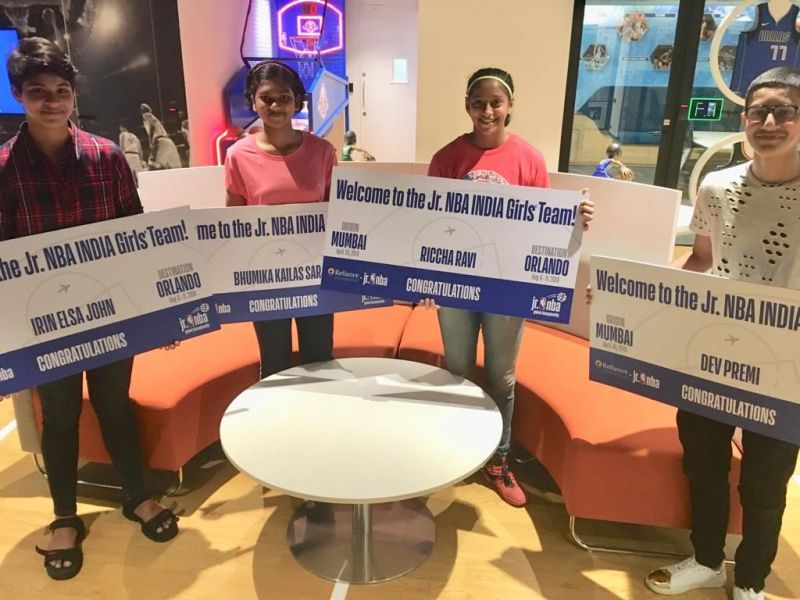 (From L-R) Irin Elsa John from Kerala, Bhumika Sarje from Pune, Riccha Ravi and Dev Premi from Mumbai after being selected for representing India at the Jr. NBA Global Championship