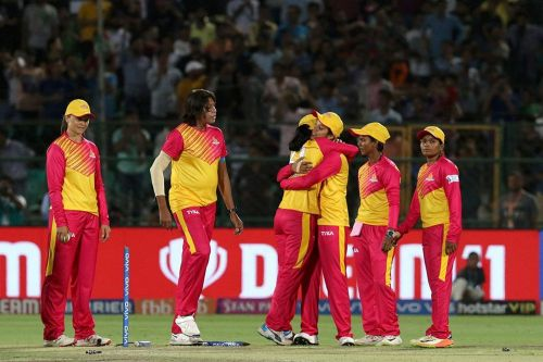 Trailblazers players celebrate after winning the first match. (Image Courtesy: IPLT20/BCCI)