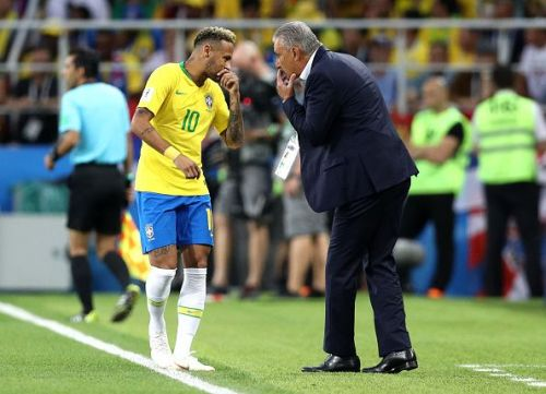 Brazil Manager Tite with captain and talisman Neymar