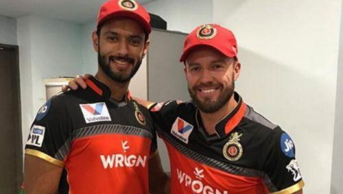 Shivam Dube with AB de Villiers