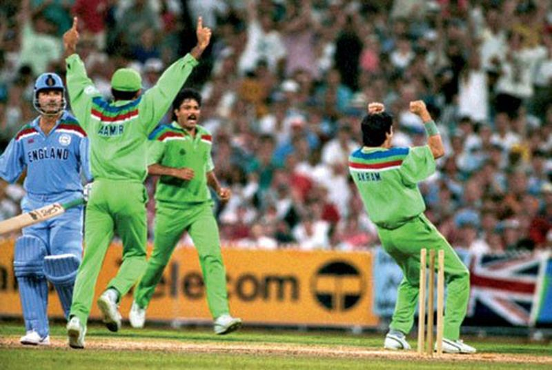 Wasim Akram breaks through, rattling the stumps of Allan Lamb, on the road to the 1992 title