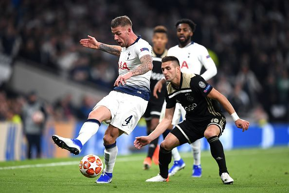 Alderweireld in possession against his former side, where he was reliable as ever at the back