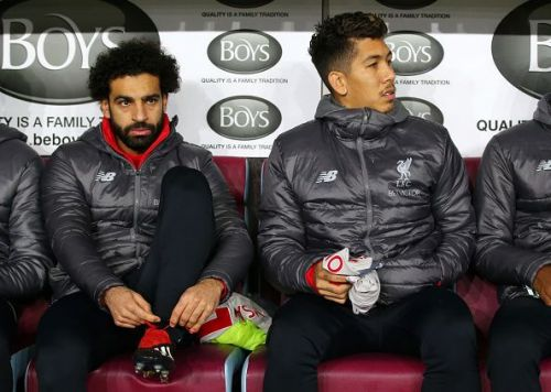 Mohamed Salah and Roberto Firmino of Liverpool FC