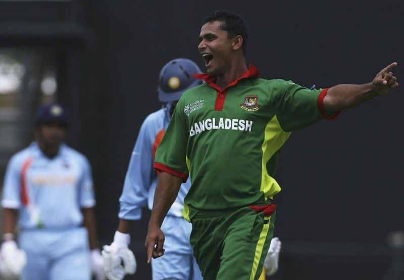 Paceman Mashrafe Mortaza strikes on the way to a huge upset by Bangladesh over the previous World Cup