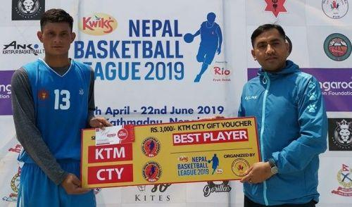 Ram Krishna Ghatane (L) of Nepal Army Club was declared man of the match