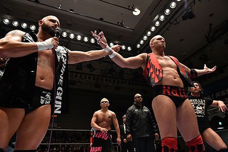 Bullet Club introducing Cody Hall to the group