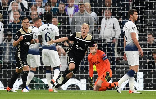 van de Beek wheels away to celebrate his opener in the semi-final first leg