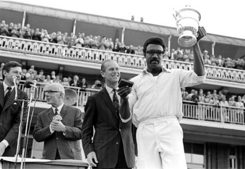 Clive Lloyd with the inaugural World Cup trophy