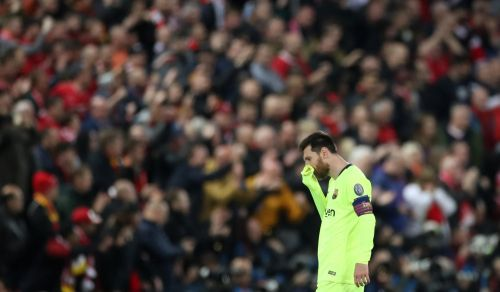 Lionel Messi looking completely dejected after the 4-0 loss against Liverpool