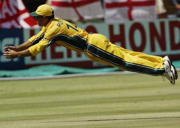 Ricky Ponting of Australia dives after the ball
