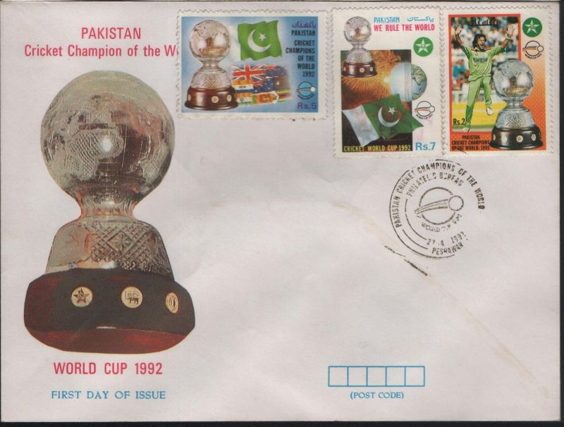 A First Day Cover with three stamps from Pakistan to celebrate 1992 Cricket World cup victory