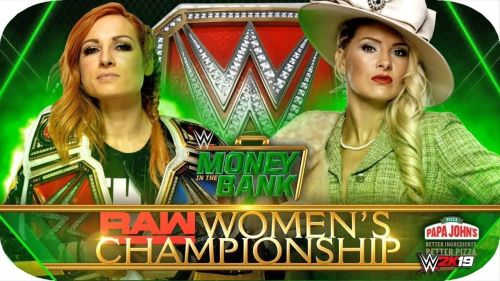 Becky Lynch defends against Lacey Evans in one of her two bouts at Money in the Bank