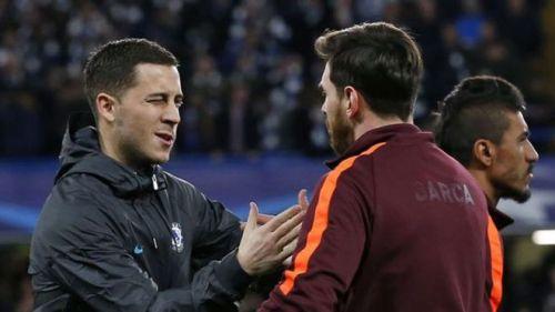 Chelsea's best player Eden Hazard and Barcelona's best player Lionel Messi