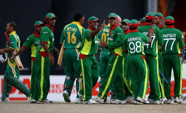Bangladesh celebrate their impressive win over South Africa