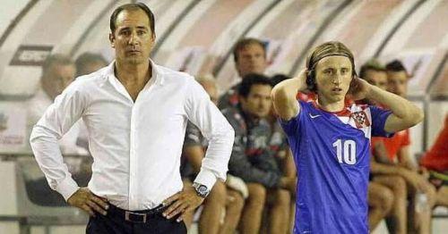 A file picture of Igor Stimac (left) with Croatian midfielder Luka Modric