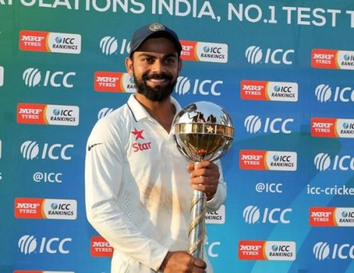 virat kohli with ICC Test mace for Indian cricket team retains No.1 spot in ICC test rankings