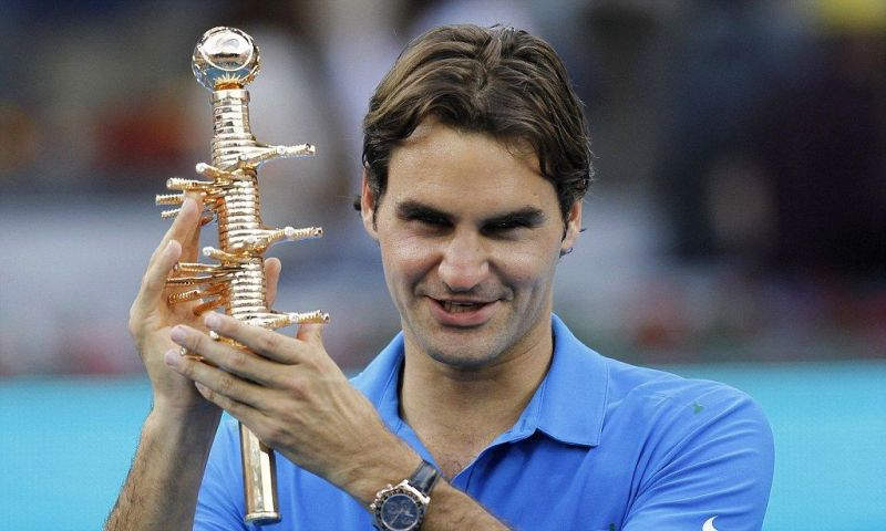 Roger Federer after winning the Madrid Open in 2012