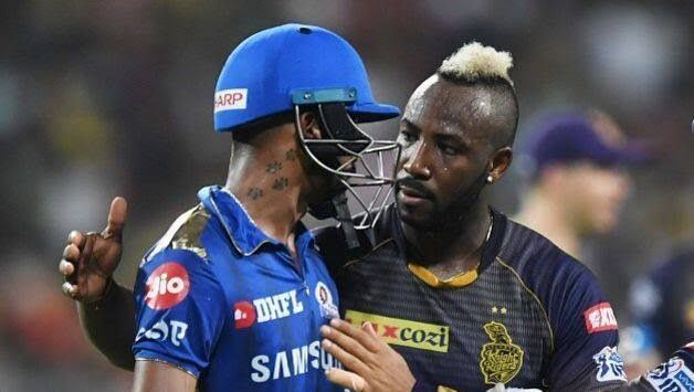Hardik Pandy (L) and Andre Russell (R) (picture courtesy: BCCI/iplt20.com)