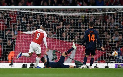 Lacazette scored a brace against Valencia in the Europa League semifinal first leg