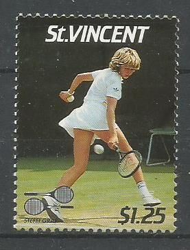 A stamp on Steffi Graf issued by St Vincent.