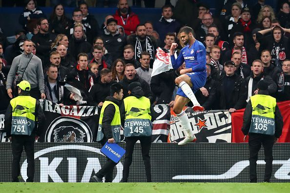 Loftus-Cheek celebrates his goal against Eintracht Frankfurt last week