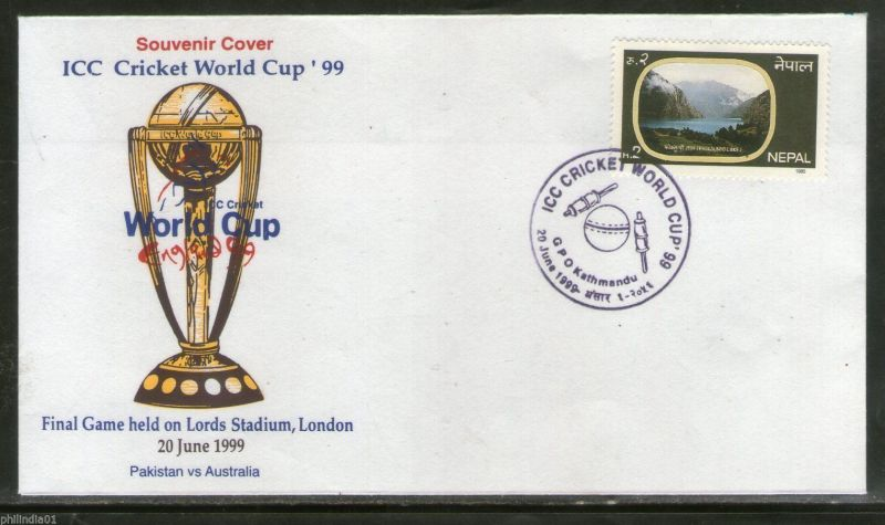A souvenir cover of Nepal-1999 Cricket world cup final at Lord
