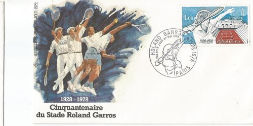 A stamp issued by France to commemorate 50 years of Stade Roland Garros.