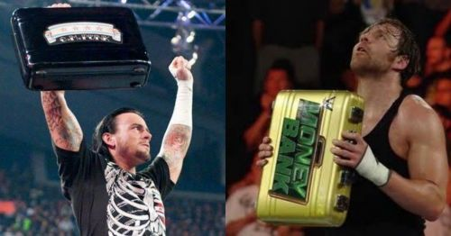 CM Punk and Dean Ambrose with the Money in the Bank briefcase